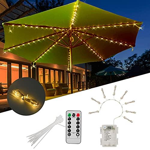 Luces de Cadena de Sobmrilla de Patio , con Control Remoto 8 Modos de Luz LED Impermeable para Parasol Terraza, Jardín al Aire Libre, Camping, Tiendas de Campaña