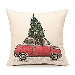 Farmhouse Christmas Decor a throw pillow with a red car and Christmas tree in it.