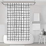 LACO RICH - Dekorativer Duschvorhang Kariert, Duschvorhang-Set aus schwarzem & weißem Stoff mit Haken, schimmelresistent, waschbar wasserdicht Duschvorhang für Badezimmer mit der Größe 72x72 Zoll