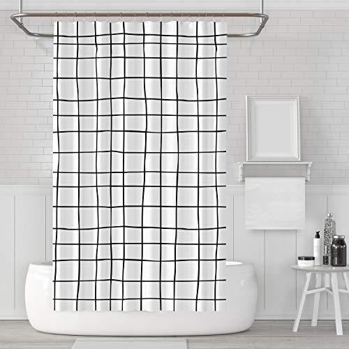 LACO RICH - Dekorativer Duschvorhang Kariert, Duschvorhang-Set aus schwarzem und weißem Stoff mit Haken, schimmelresistent, waschbar wasserdicht Duschvorhang für Badezimmer mit der Größe 72x72 Zoll
