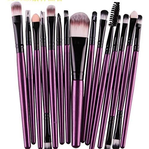 MOONRING 15 PCS Pinceaux de maquillage pour les yeux Correcteurs à double extrémité Mélange d'ombres à paupières Mélange de pinceaux à sourcils, clarinette à tige violette