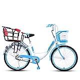 TWW Bicicleta, Mujer, Adulto, Madre E Hijo, con Bebé, con Niños, Bicicleta Ligera para 2 Personas, Recoger Y Dejar Al Niño, Asiento Doble De 24 Pulgadas,Blue