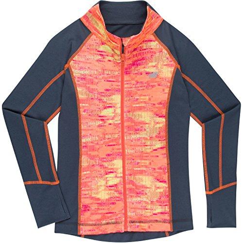 New Balance Girls' Big Athletic Full Zip Jacket, Tangerine/Stripe, 10/12