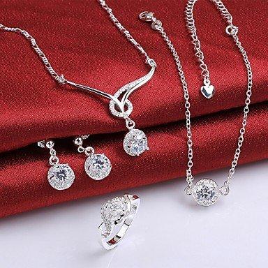 joyería de plata, joyería de moda de plata collar de cristal blanco&pulsera /...