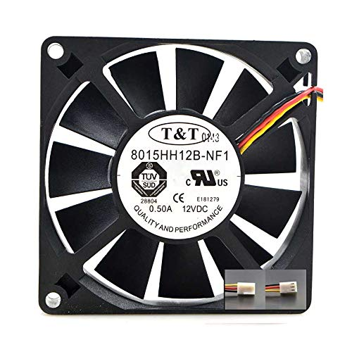 N+A Cooling Fan TMT 8015HH12B-NF1,Server Cooler Fan TMT 8015HH12B-NF1 12V 0.50A, Chassis Large Air Volume Cooling Fan for 80x80x15mm 3PIN