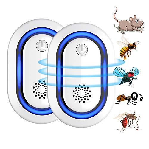 Repelente Ultrasónico Plagas Ratas, Repelente Electrónico Repelente Ratones Plugin Control Interior para Moscas Hormigas Insecto Cucaracha Roedore (Azul)