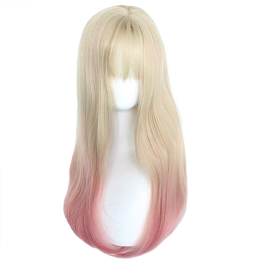 満員移住する小麦かつら - ファッションロングロールリューハイウィッグレディハロウィンコスプレヒートナチュラル60センチメートルライトゴールドグラデーションピンク (色 : Pink, サイズ さいず : 60 cm 60 cm)