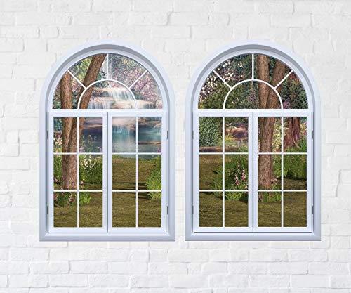 Wasserfall Gartenfenster Ansicht Wandtattoo Kuppelfenster Aufkleber 3D-Fenster Scape Wandbild Sofortansicht Home Decor Wanddekoration Wandaufkleber