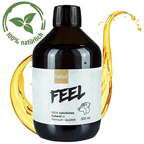 belso Feel natürliches Futteröl mit 6 Ölen für Hunde - hochwertiges Hundeöl zur Fellpflege und Zeckenschutz mit essentiellen Fettsäuren Vitamine ideal als Omega 3 6 Fischöl Barf-Öl