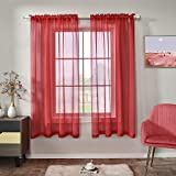 Red Semi Sheer Curtains Faux Linen Sheer Window Curtain Panels Drapes 72 Inch Length with Rod Pocket for Living Room Girls Kids Room Bedroom 2 Panels 52 x 72 Inches Long Red