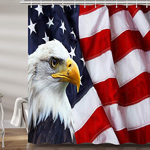 JAWO American Flag Shower Curtain, USA Bald Eagle Stars and Stripes Flag Hippie Independence Day Fourth of July Waterproof Bathroom Decor Polyester Fabric Bath Curtains, Hooks Included, 69X70 Inches