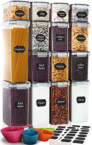 Airtight Food Storage Containers 15-Piece Set, Kitchen & Pantry Organization, BPA Free Plastic Storage Containers with Lids, for Cereal, Flour, Sugar, Baking Supplies, Labels, Marker & Measuring Cups