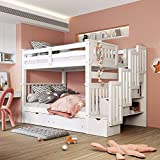 Full Over Full Bunk Bed with Shelves and 6 Storage Drawers, Convertible Wooden Stairway Bunk Bed Frame for Kids, No Spring Box Needed (White)
