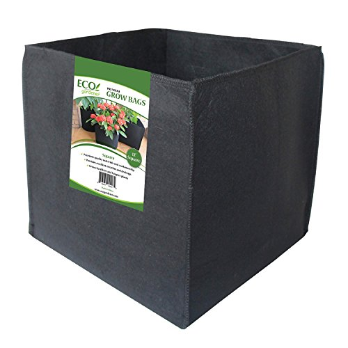 "ECOgardener Grow Bags Square Foot Planter Raised Bed Fabric Pot - 12"" Square 7 Gallon 4Pk"