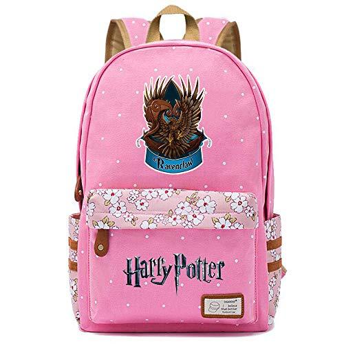 NYLY Harry Potter Blumenrucksack Ravenclaw Rucksack, Jungen und Mädchen Mode Schultasche Notebook Tasche M (Rosa) Stil-6