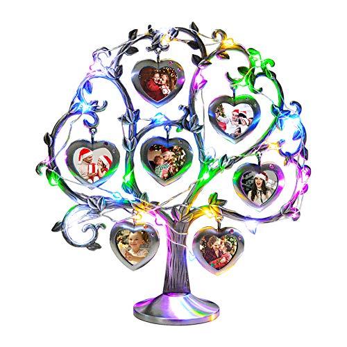 Marco de fotos personalizado Álbum de fotos de árbol genealógico Marco de fotos con luces de colores Álbum de fotos para mujeres(Corazón 26*28.6 CM/10.2*11.1 IN)