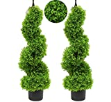 momoplant Boxwood Topiary Artificial Outdoor Faux Boxwood Trees Artificial Trees Spiral Tree Outdoor Topiary Trees,Set of 2 (35 Inch/2.95ft)