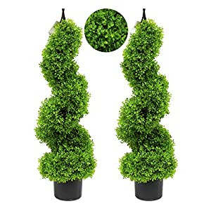 Silk Flower Arrangements momoplant Artificial Topiary Outdoor Boxwood Spiral Topiary Tree 3ft (2 Pieces) Faux Topiary Tree Outdoor Faux Tree,Green (35 inch/2.95ft)