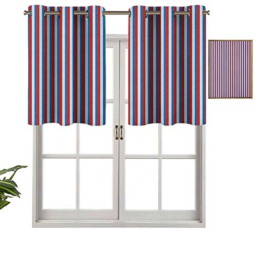 Hiiiman Elegant Grommet Top Curtain Valances Vertical Patriotic Colorful Contrast Toned American Colors, Set of 1, 54'x18' Home Decorative for Boys-Girls Room