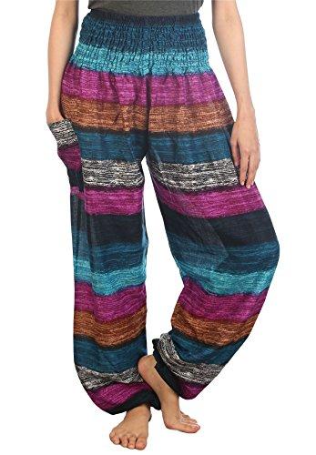 LOFBAZ Harem Pants for Women Yoga Boho Hippie Clothing Bohemian Palazzo Beach Maternity Pajama Gypsy Indian Travel Clothes Colourful 2 Navy XL