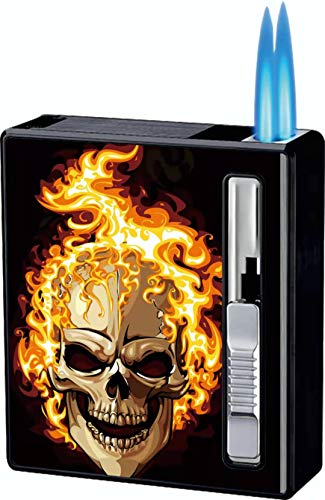 Cigarette Case with Lighter Dual Jet Torch Flame Lighter Cigarettes Box 20pcs Regular/King Size Cigarettes Portable Double Jet Lighters Refillable Windproof Gas Lighters 2 in 1 (Skull-Cigarette Case)