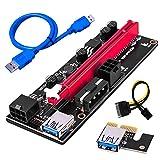 ROSELI 5 Piezas Ver009 USB 3.0 Pci-E Riser Ver009S Express 1X 4X 8X 16X Extender Riser Tarjeta Adaptadora Sata 15Pin una 6 Pin Cable de AlimentacióN
