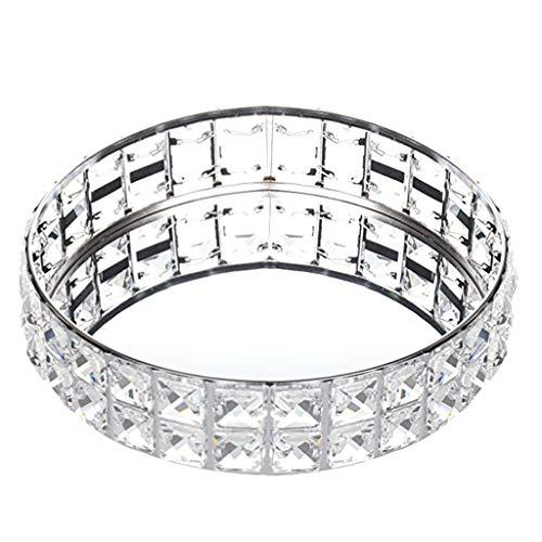 NOWON Bandeja con Espejo Bandeja de Perfume Bandeja de cosméticos Perlas de Cristal Organizador de Joyas Decorat