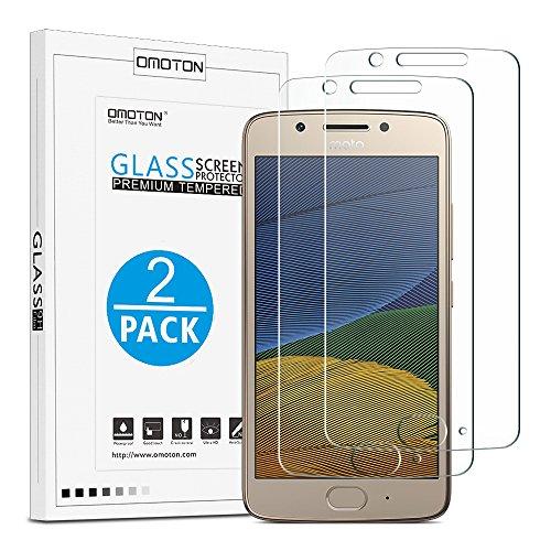 [2 Stück] OMOTON Panzerglas Bildschirmschutzfolie für Motorola Moto G5, Anti-Kratzen, Anti-Öl, Anti-Bläschen, 2.5D
