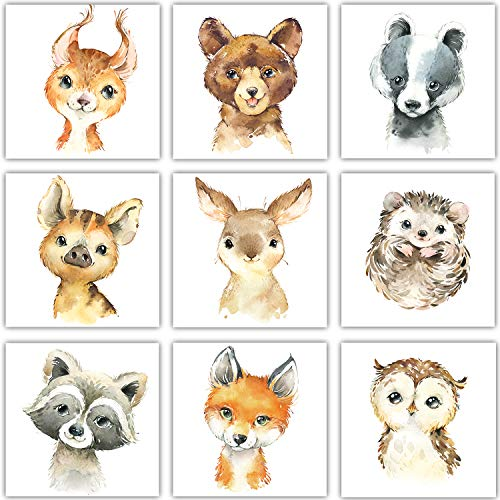 Frechdax® 9er-Set Poster Kinderzimmer Babyzimmer Deko 13x13cm (9er Set 13x13cm, Wald, Tiermotive, Portrait)