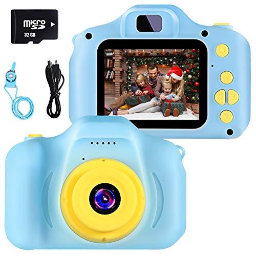 Camara Fotos Infantil Juguete para Niños Cámara Digital para Niños pequeños 2 Inch HD Pantalla with Calidad 32GB TF Tarjeta Regalos Juguete para 3 a 12 años Niños y niñas (azui)