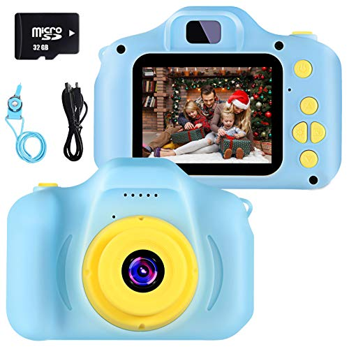 vatenick Cámara para Niños Juguete para Niños Cámara Digital para Niños pequeños 2 Inch HD Pantalla with Calidad 32GB TF Tarjeta Regalos Juguete para 3 a 12 años Niños y niñas… (azui)
