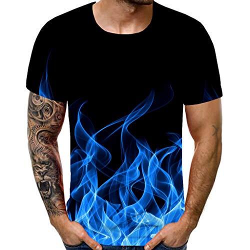 waotier Ropa De Hombre Camiseta De Manga Corta Nueva De Verano con Cuello Redondo Blue Flame Estampado 3D Superior(XXXL,Azul)