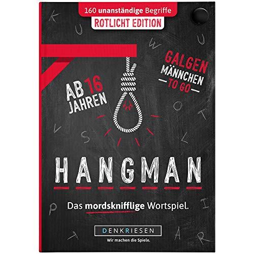 DENKRIESEN - Hangman - ROTLICHT Edition - Galgenmännchen to GO | Spielblock | Partyspiel | Reisespiel | Wichtelgeschenk | Geburtstagsgeschenk | Rätselblock - Spiel ab 2 Personen