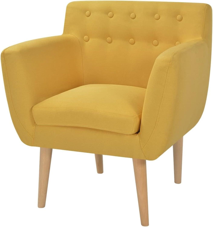 XINGLIEU Sessel, gepolstert, Stoff und Holzrahmen, 67 x 59 x 77 cm, Gelb