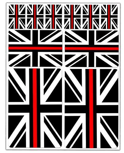 10 x vinyl sticker autosticker sticker vlag van het Verenigd Koninkrijk Engeland UK United Kingdom Groot-Brittannië thin rood/rood lijn auto motorfiets scooter venster D 41