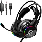 Gaming Headset for PS4,Xbox One,Over-Ear Headphones with Noise Canceling Mic and Volume Control,Surround Stereo,Memory Foam Ear Pads,RGB LED Light,Works with PC/Mac/Laptop/Mobile-3.5mm (Black)