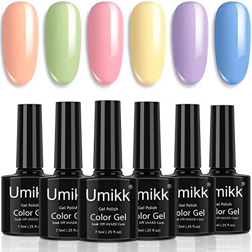 Umikk Juego de esmaltes en gel para uñas 6 colores pastel coral verde rosa, amarillo morado azul primavera verano color 7,5 ml remojo de UV LED cura para uñas manicura pedicura