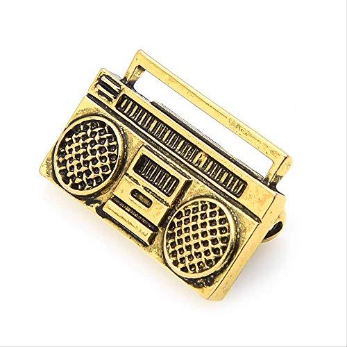 XZFCBH Vintage Retro Radio Recorder Brosche Pins Frauen Kostüme Musik Pins Designer Schmuck