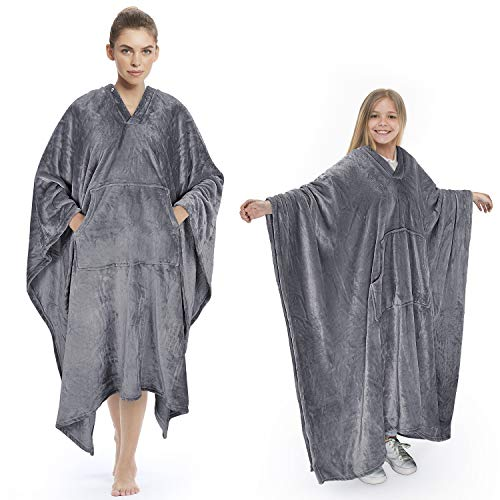 Tirrinia Poncho Blanket Comfy Plush Fleece Wearable Blanket for Adult Women Men Kids Throw Wrap Cover Home or Outdoors, 55