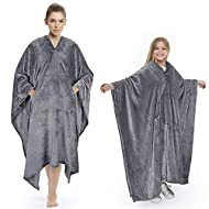 Tirrinia Poncho Blanket Comfy Plush Fleece Wearable Blanket for Adult Women Men Kids Throw Wrap Cover Home or Outdoors, 55''x 80'' Grey