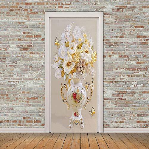 BXZGDJY 3D deur-wandsticker, vaas in Chinese stijl, 3D deursticker, decoratie, wandfoto, deurbehang, afneembaar, zelfklevend, waterdicht, pvc, deurposter, renovatie, deur, woonkamer, slaapkamer, keuken, T 80X200CM