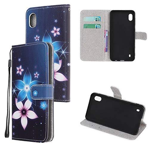 Miagon Bunt Muster Full Body Hülle für Samsung Galaxy A10,PU Leder Leder Flip Case Schutzhülle Tasche mit Ständer Kartenfach Magnetschnalle,Rosa Blau Blume