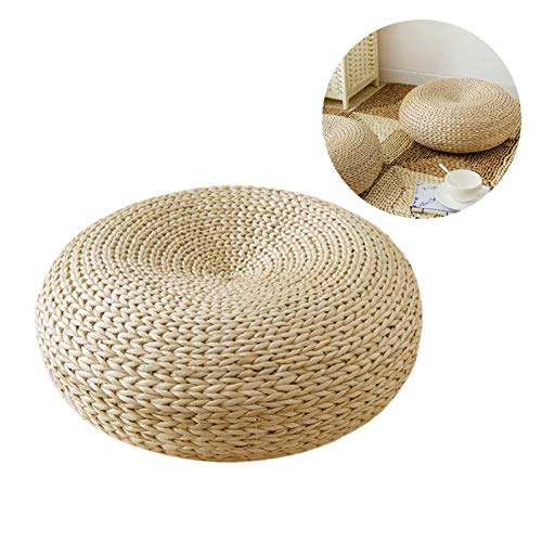 Oshidede 38x38cm Bodenkissen Tatami Boden Kissen Sitz Kissen Rundes Stroh Kissen für Haus Patio Balkon Tabellen