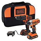 BLACK+DECKER BCK25S2S-GB 18 V Impact Driver and Combi Drill Set with 2 x 1.5 Ah Batteries and Charger