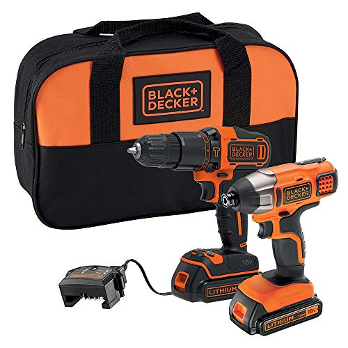 BLACK+DECKER 18 V Cordless Combi Drill Power Tool with Impact Drill Driver, Storage Tool Bag, 2 x 1.5 Ah Lithium-Ion Batteries, BCK25S2S-GB