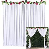 NSSONBEN 2 Stücke EIS Seide Hintergrund Vorhang für Hochzeit Weiß mit Golden Vorhang Raffhalter 150 x 215cm