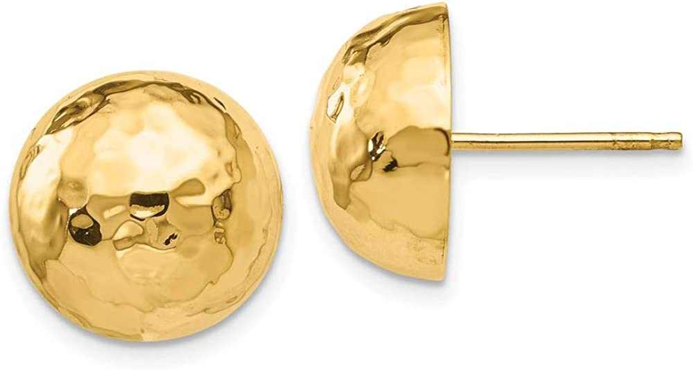 14k Yellow Gold Hammered Half Ball Post Stud Earrings Button Fine Jewelry For Women Gifts For Her