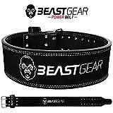 Beast Gear PowerBelt – Ceinture de qualité d'haltérophilie à Deux Dents – Ceinture de Levage de Poids 10 cm x 10 mm en Cuir Nubuck avec de puissantes vis rivetées - XL