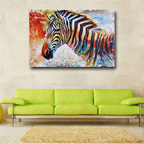GJQFJBS Bunte Zebra Wandkunst Bild Moderne Tier Leinwand Malerei Modedruck Poster Home Decoration A4 60x80cm