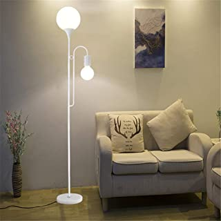 LED Eye-Care Touch Floor Lamp with Marble Base Modern Iron Art Tall Standing Pole Light Foot Switch/Remote Control + Foot ...